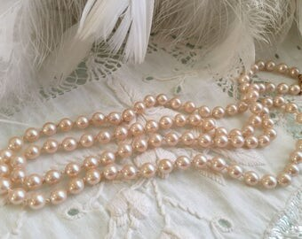 1960s Vintage Pink Hand Knotted Pearls Monet Faux Lovely 30 Inches Estate Wedding?
