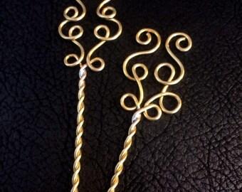 Hair Pins, Swirly Brass bobby pins, hair accessories, hair care, deorative pins
