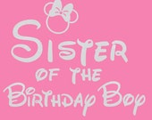 Minnie Mouse Sister of the Birthday boy iron on glitter transfer DIY applique DIY patch
