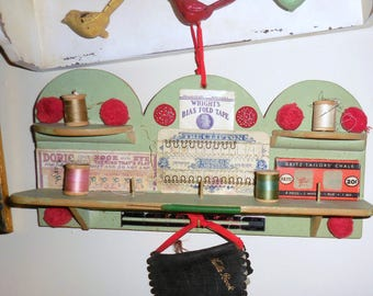 Wall  Shelf Assemblage  / Sewing Notions / Grandma's Sewing Room