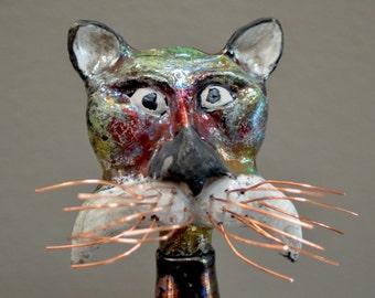 Raku Ceramic CAT Sculpture. Ceramic Art. Raku Sculptural Bottle. Mixed Medium. Funky Whimsical Hand Built Cat.