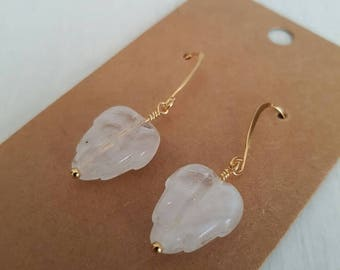 Closing sale Clear glass leaves, wire wrapped, gold plated  earrings.