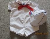 Easter Vintage Nautical Sailor Sailboat 2 pc romper shortalls suit 0-3M Philippines