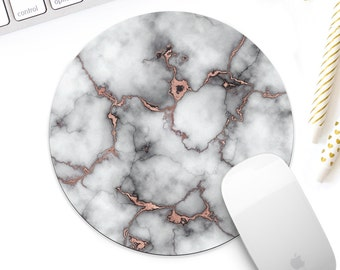 White marble with rose gold mouse pad for her, Rose gold desk accessory, Rose gold office decor, new job gift, coworker gift
