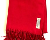 Red Pashmina (personalise with Initials or message)