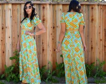 Vintage 70s BOHO HIPPIE MAXI Dress S