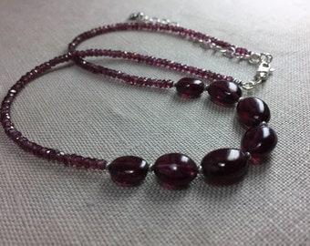 Rhodolite Garnet Necklace in Sterling Silver