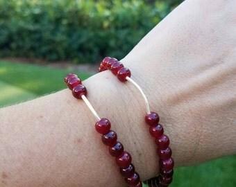 2 Red Cranberry Beaded Bracelets