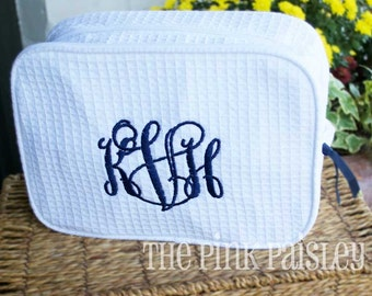 Personalized Cosmetic Bag | Monogram Makeup Bag | Bridesmaid Gift | Bridal Party Gift| Graduation Gift | Waffle Weave Cosmetic Bag