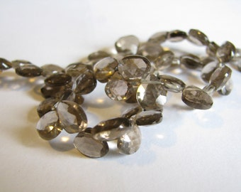 Smoky Quartz, faceted heart briolettes, extra long 10 inch strand 7-8mm (w32)