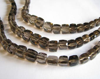 Smoky Quartz cube nuggets, faceted square beads, 6 inch strand, 5-8mm (w184)