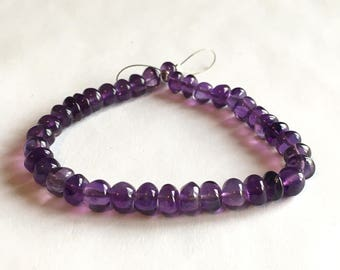Purple Amethyst smooth rondelle, large beads, 6.5 inch strand, 6-7mm (w169)