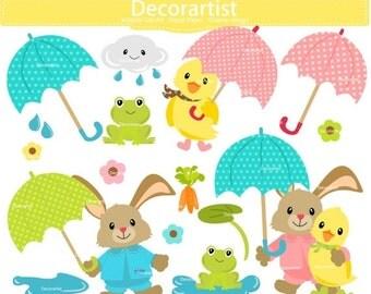 ON SALE Rainy Season Clip Art _ Umbrella Clip Art, bunny clipart,baby shower clip art, baby rabbit clip art,duck clip art, INSTANT Download