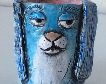 Small Colorful Handmade Ceramic Dog Cup