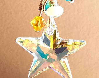 Swarovski Crystal Star Aurora Borealis Pendant - Turquoise and Yellow crystals