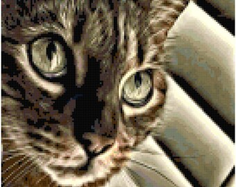 "Original Cross Stitch Pattern ""Cat Eyes"""