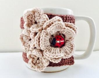 Floral Cup Cosy, Cup Sleeve, Mug Cosy, Cup Cozy, Mug Sleeve, Mug Warmer - Pure Wool - Cafe Latte