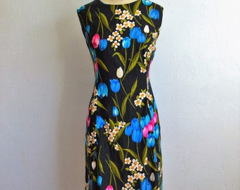 60s cotton floral shift dress TULIPS size large