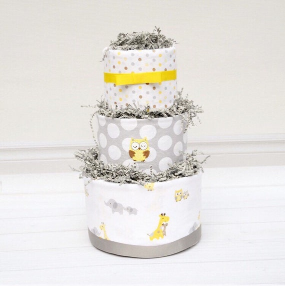 Owl Baby Shower, Safari Shower Decorations, Gray and Yellow Baby Shower, Owl Diaper Cake, Neutral Baby Gift, Gender Neutral Shower Gift