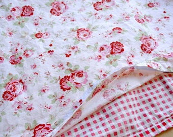 Cath Kidston Duvet - Rosali Pink Roses and Plaid - Twin