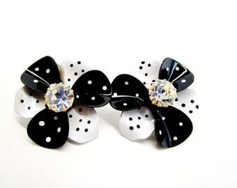 Vintage Flower Black With White Polka Dots Earrings AVON 3D Clip 1960's Big Rhinestone Center Art Nouveau Retro Runway Diva Statement