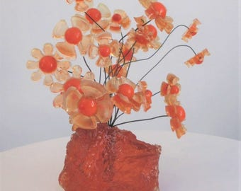 Vintage Orange Resin Flower Sculpture