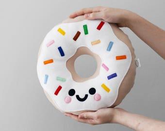 White Vanilla Donut Fleece Cushion, Kawaii Plushie, Travel Pillow, Kids Room Decor