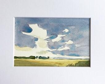 Wispy Clouds • original watercolor painting