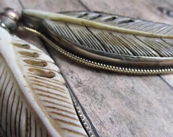 Choice of Encased Bone Feather Pendants, Bone Pendant, Feather, Feather Pendant, Pendants, Feather Pendants