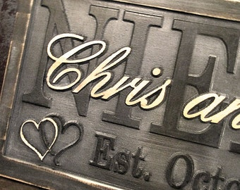 Personalized Wedding Gift Lovejoystore Grey Couples Family Name Sign Gray 3D Wood CARVED Custom Sign personalized last name sign unique gift