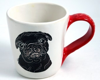 What Are You Doing Black Pug Mug in White and Red