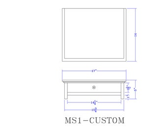 CUSTOM Black  Computer Monitor Stand and Desk Organizer with Drawer