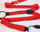 Vintage Mens Suspenders - Button on red Suspenders made in England