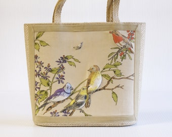 Vintage Bird Purse Trapunto Creations by Mary Lou Wingerter Sarasota Florida - Floral Trapunto Top handle Handbag - Summer Purse