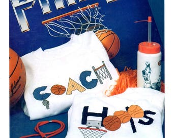 Basketball Sweats Coach Hoop and Net Whistle Waste Canvas Counted Cross Stitch Embroidery Craft Pattern Leaflet 102
