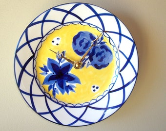 Blue and Yellow Floral Wall Clock, 8 Inch Silent Porcelain Plate Clock - 2342