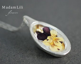 925 silver necklace with pansies