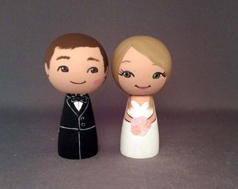 Wedding Cake Topper Kiss on Cheek Couple Blonde Bride Brunette Groom