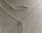 Tiny Sterling silver Safety Pin necklace -- politics election democrat feminist 2016 equality care solidarity