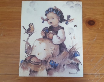 Hummel Print, Dry Mounted on Foam Board, Girl with Songbird and Bluebell Flowers, 7.75x9.5 Inches
