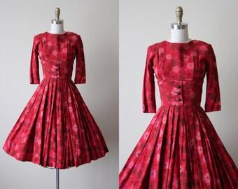 50s Dress - Vintage 1950s Dress -  Red Wine Floral Print Cotton Full Skirt Bust Shelf Dress XXS - Season of Change Dress