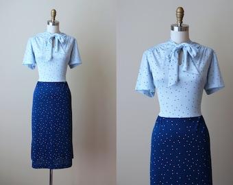 1970s Dress - Vintage 70s Dress - Novelty Print Hearts Two-Tone Blue Dress w Bow Neck L XL - Winterheart Dress