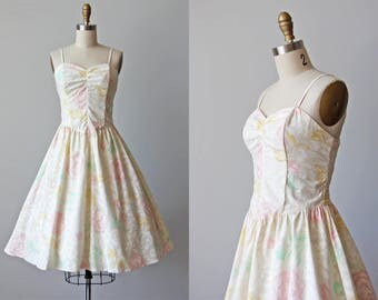 80s Dress - Vintage 1980s Dress - Soft Pastels Peony Floral Print Cotton Princess Smocked Sundress S - Nicki's Girl Dress
