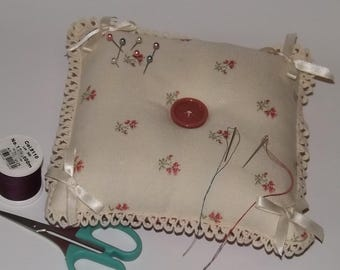 Large Cream and Pink Pincushion, Large Square Pincushion, Crafters Pincushion
