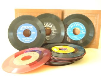 Vintage 45 records, qty. 22 mid-century 45 RPM singles, Andrews Sisters, Bing Crosby, Mantovani, Guy Lombardo, Ink Spots, Mario Lanza