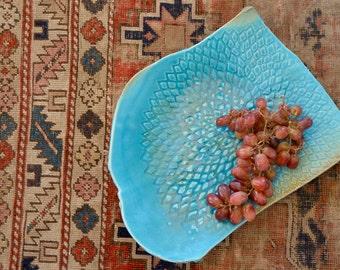 Ceramic serving platter , Modern decor, comtemporary square plate Turquoise, oriental center piece by Christiane Barbato