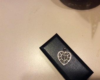 Sweet sterling heart pendant 925 era 1940-1950 vintage