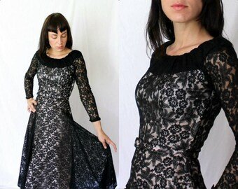 Vintage 1940s Black Illusion Lace Dinner Dress - NYE - Cocktail Party - Skeeter Davis - XS  Small