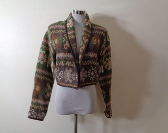 90s New Identity Brown and Sage Green Southwest Design Cotton Tapestry Shawl Collar Crop Jacket Sz S