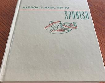 Vintage  Illustrated Cover Spanish Dictionary Tan Hardcover Sombrero Decor  Madrigal's Magic Key to Spanish Decorative Books
